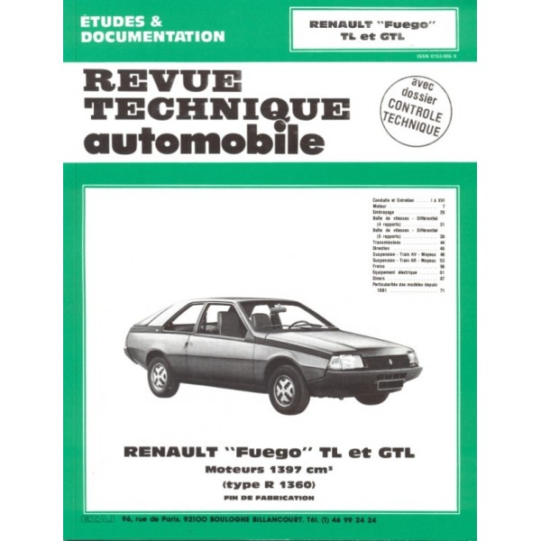 Revue Technique Renault fuego tl et gtl