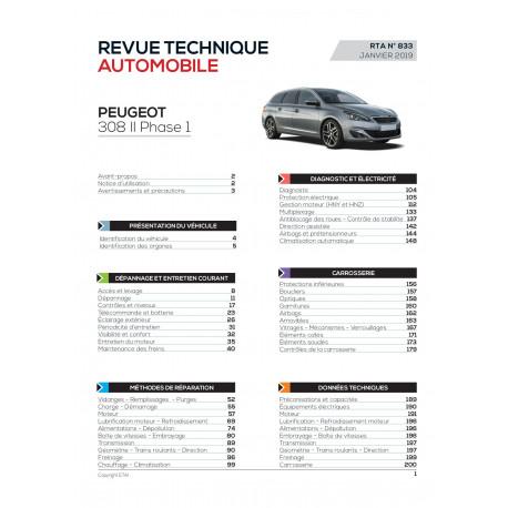 RTA 833 - PEUGEOT 308 II - Phase 1 - 1.2i 110 et 130 ch (de 2013 à 2017)