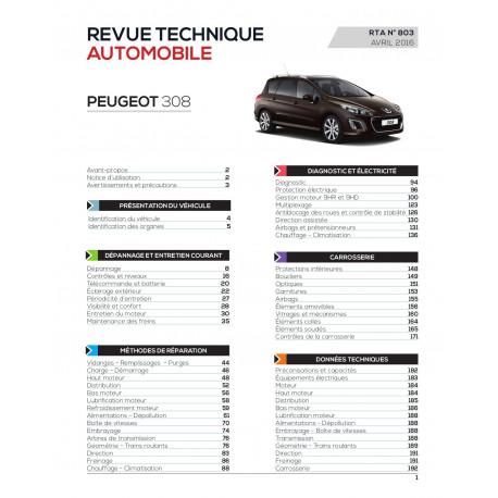 RTA 803 Peugeot 308I Ph.2 -1.6 e-HDI 112et115ch (depuis 04/11)