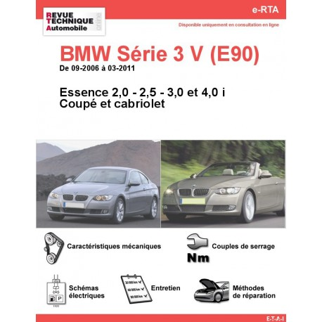 e-RTA BMW Série 3 V (E92/E93) Essence (09-2006 à 03-2011) - Coupé et Cabriolet