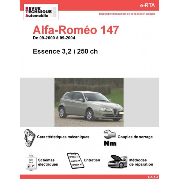 e-RTA Alfa-Roméo 147 Essence 3,2 i 250 ch. (09-2000 à 09-2004)