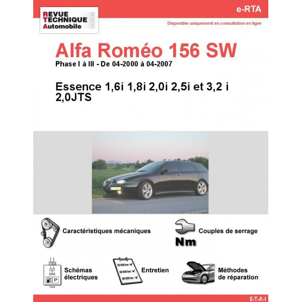 e-RTA Alfa Roméo 156 Sportwagon Essence (04-2000 à 04-2007)