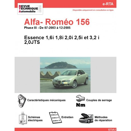e-RTA Alfa- Roméo 156 Essence (07-2003 à 12-2005)