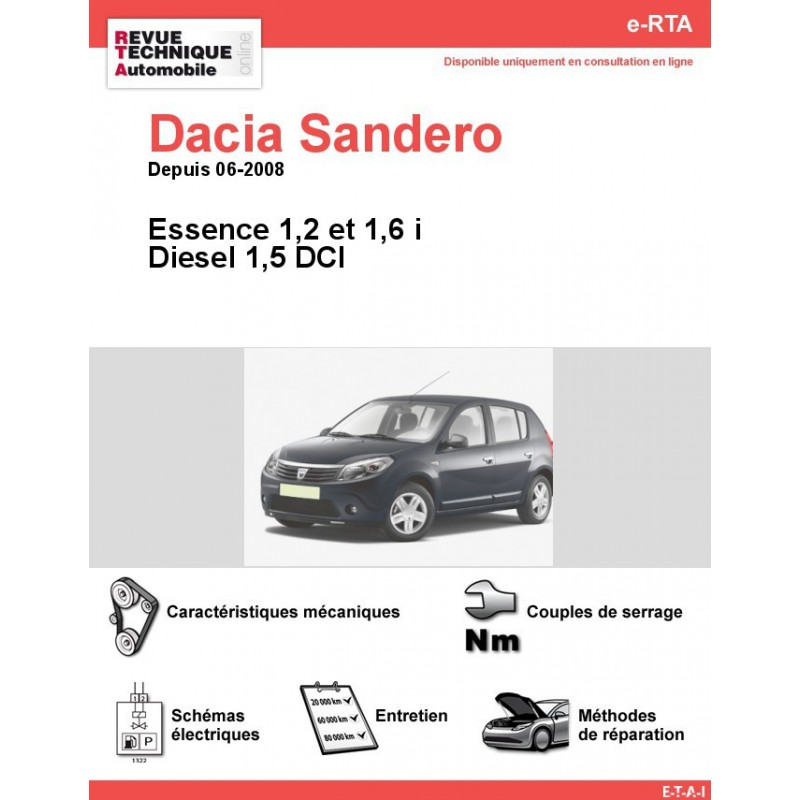 revue technique dacia sandero diesel et essence sauf 1 4 i rta site officiel etai. Black Bedroom Furniture Sets. Home Design Ideas