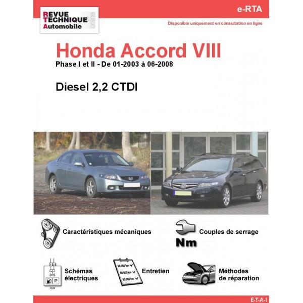 e-RTA Honda Accord VIII Diesel (01-2003 à 06-2008)
