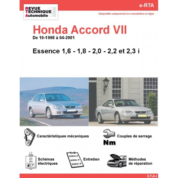 e-RTA Honda Accord VII Essence (10-1998 à 04-2001)