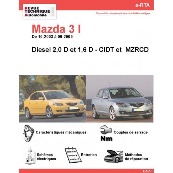 e-RTA MAZDA 3 I  Diesel (10-2003 à 06-2009)