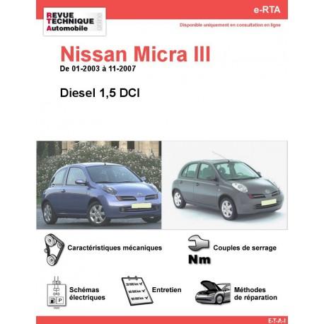 e-RTA NISSAN Micra III Diesel (01-2003 à 11-2007)