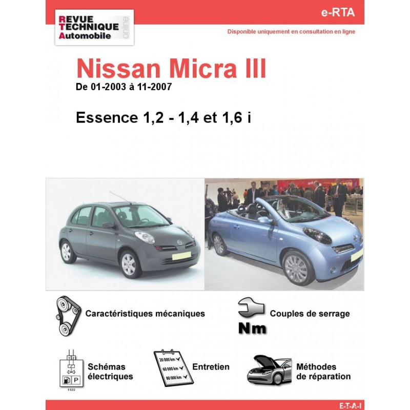 revue technique nissan micra iii essence rta site officiel etai. Black Bedroom Furniture Sets. Home Design Ideas