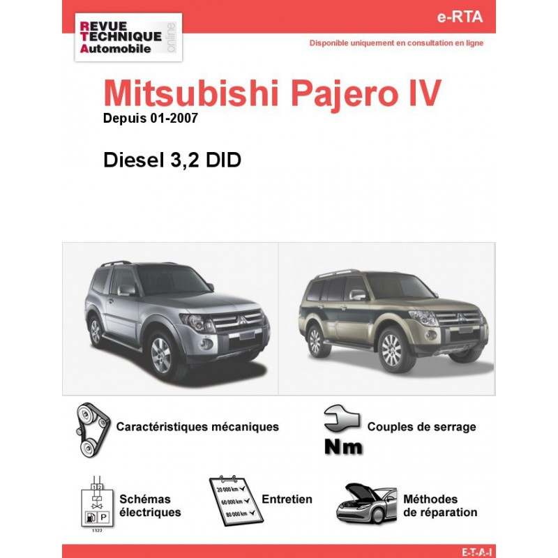 revue technique mitsubishi pajero iv diesel rta site officiel etai. Black Bedroom Furniture Sets. Home Design Ideas