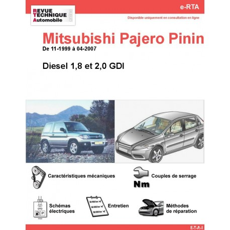 e-RTA MITSUBISHI Pajero Pinin Diesel (11-1999 à 04-2007)