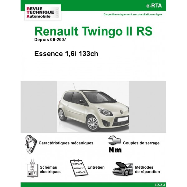 revue technique renault twingo ii rs rta site officiel etai. Black Bedroom Furniture Sets. Home Design Ideas