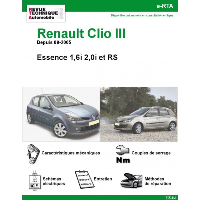revue technique renault clio iii essence 1 6i 2 0i et rs rta site officiel etai. Black Bedroom Furniture Sets. Home Design Ideas
