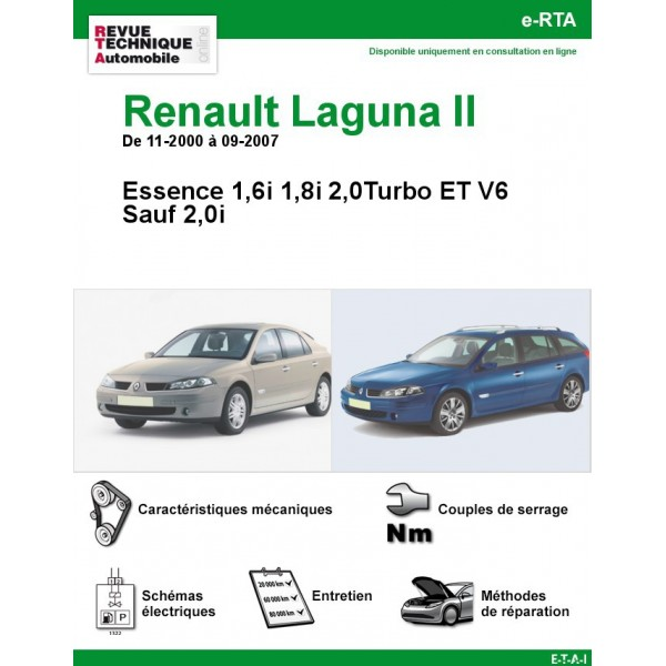 revue technique renault laguna ii essence rta site officiel etai. Black Bedroom Furniture Sets. Home Design Ideas