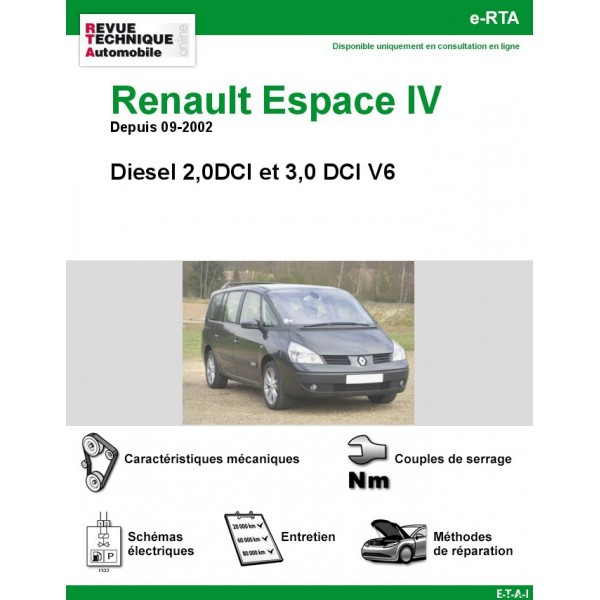 revue technique renault espace iv 2 0dci et 3 0dci v6 rta site officiel etai. Black Bedroom Furniture Sets. Home Design Ideas