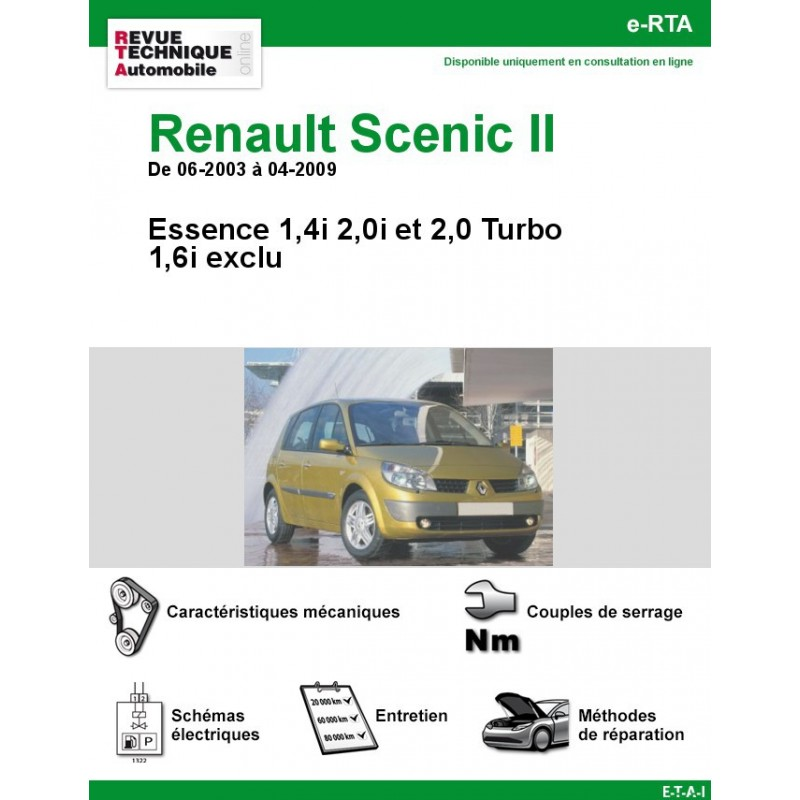 revue technique renault scenic ii essence rta site officiel etai. Black Bedroom Furniture Sets. Home Design Ideas