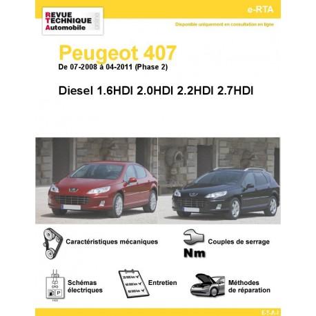 e-RTA Peugeot 407 Diesel Phase 2 (de 07-2008 à 04-2011)