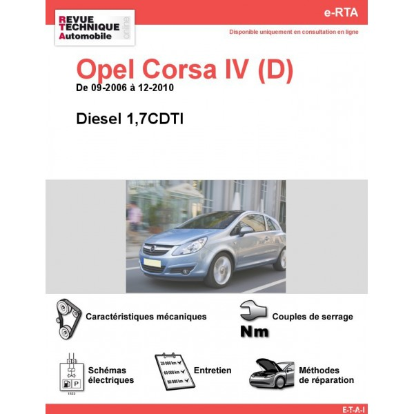 e-RTA Opel Corsa IV (D) Diesel (De 09-2006 à 12-2010)