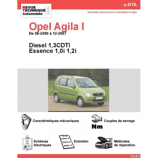 e-RTA Opel Agila I Essence et Diesel