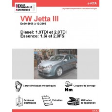e-RTA Volkswagen Jetta III Essence et Diesel (09-2005 à 12-2009)