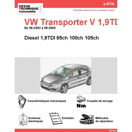 e-RTA Volkswagen Transporter V Diesel 1,9TDI (06-2003 à 08-2009)