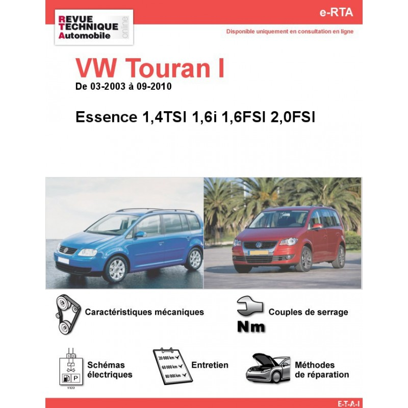 revue technique volkswagen touran i essence rta site officiel etai. Black Bedroom Furniture Sets. Home Design Ideas