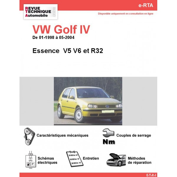 revue technique volkswagen golf iv essence v5 v6 et r32 de 01 1998 05 2004 rta site. Black Bedroom Furniture Sets. Home Design Ideas