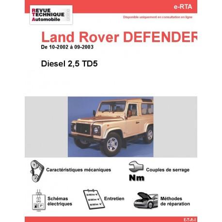 e-RTA Land Rover DEFENDER III Diesel 2,5 TD5 (10-2002 à 09-2003)