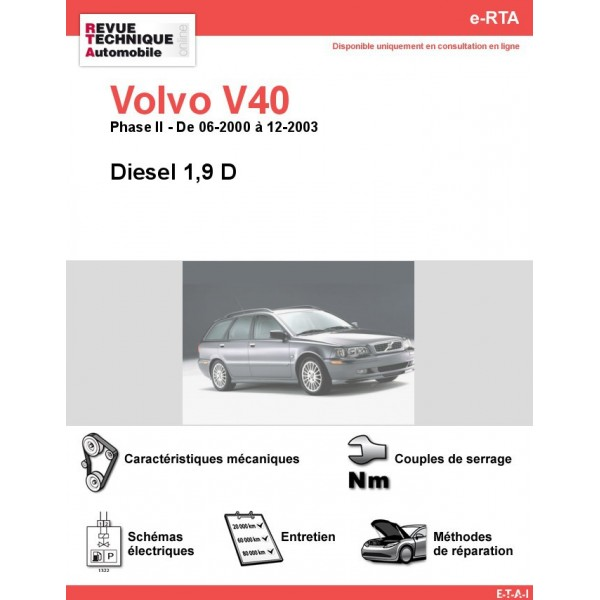 revue technique volvo v40 diesel 1 9 d rta site officiel etai rh revue technique auto fr
