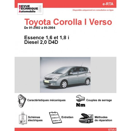 e-RTA Toyota Corolla I Verso Essence et Diesel (01-2002 à 05-2004)
