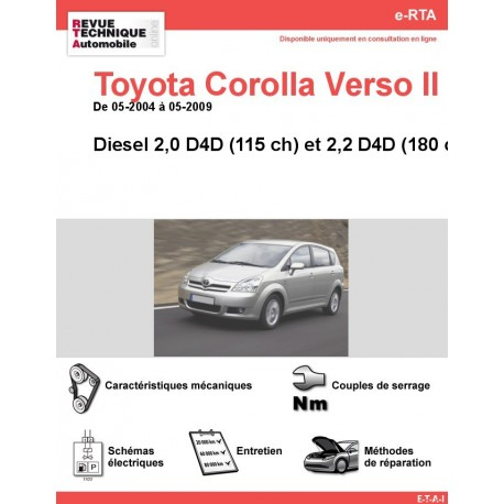 e-RTA Toyota Corolla VERSO II Diesel (05-2004 à 05-2009)