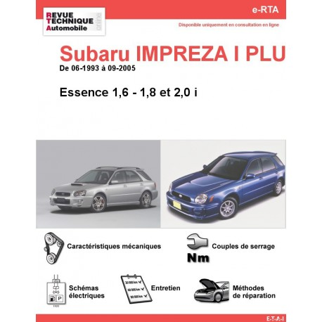 e-RTA Subaru IMPREZA I PLUS Essence (06-1993 à 09-2005)