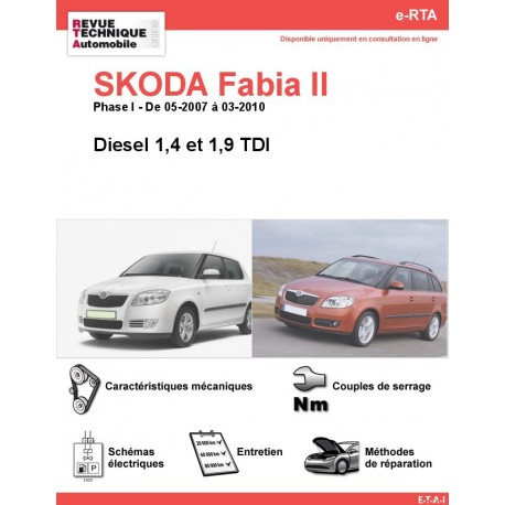 e-RTA SKODA Fabia II Diesel (Phase I: 05-2007 à 03-2010)