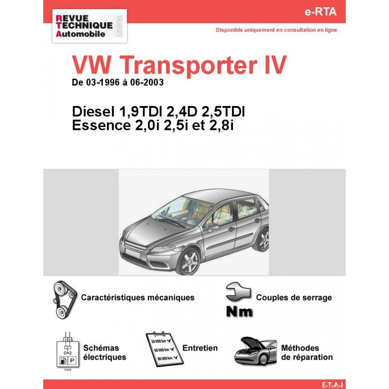 revue technique volkswagen transporter iv diesel et essence rta site officiel etai. Black Bedroom Furniture Sets. Home Design Ideas