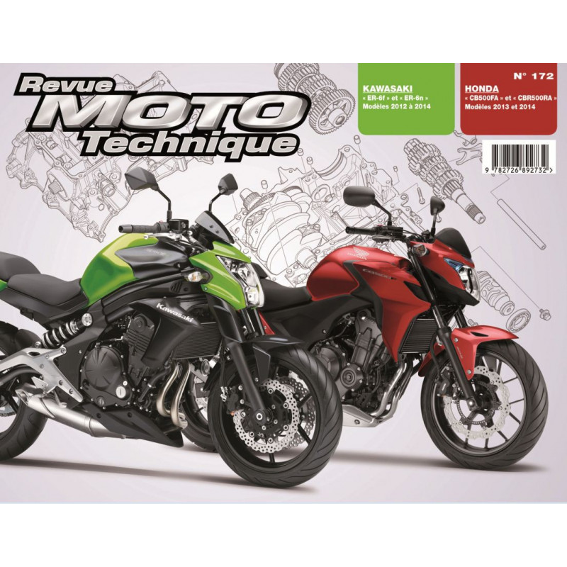 revue moto technique honda cb cbr500 et kawasaki er 6n f. Black Bedroom Furniture Sets. Home Design Ideas
