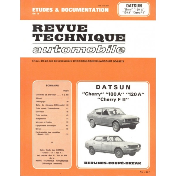 Revue Technique Datsun cherry 100 120
