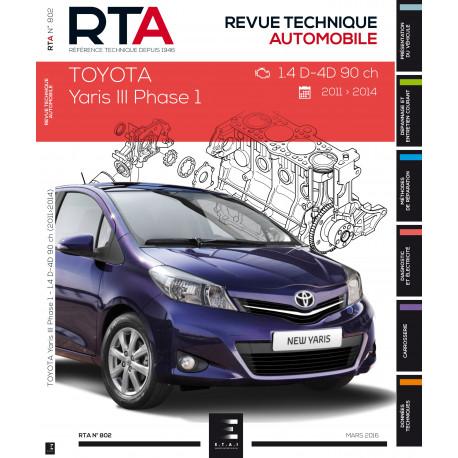 RTA 802 TOYOTA YARIS III  à partir du 03/2011 - 1.4D4D 90 CH