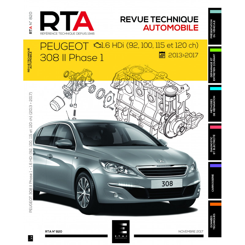 rta 820 peugeot 308 ii phase 1 1 6hdi revue technique auto. Black Bedroom Furniture Sets. Home Design Ideas