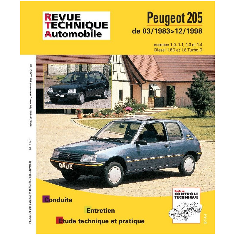 revue technique peugeot 205 gti rta site officiel etai. Black Bedroom Furniture Sets. Home Design Ideas