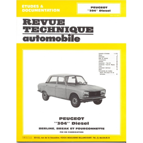 Revue Technique Peugeot 304