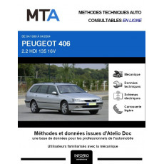MTA Peugeot 406 BREAK 5 portes de 04/1999 à 04/2004